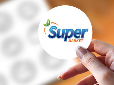 מדבקה עגולה Super Market