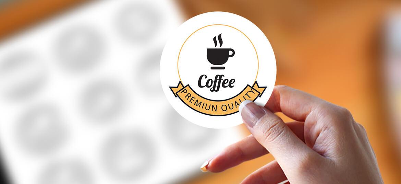מדבקה עגולה בניחוח קפה