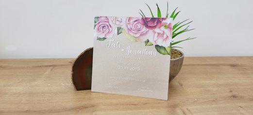הזמנה שקופה ניט פרחים פנינה חול