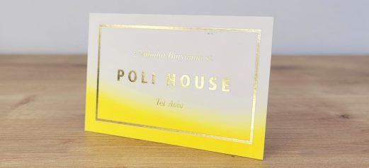 כרטיס ביקור צהוב זוהר וזהב