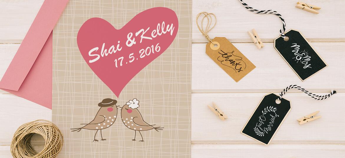 הזמנות לחתונה ציפורים אוהבות