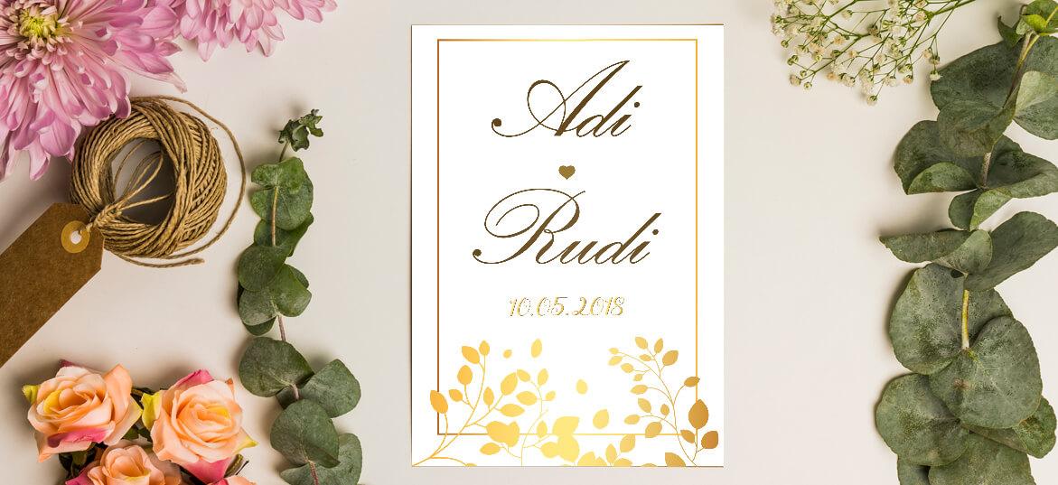 הזמנה מודרנית לחתונה הטבעת זהב