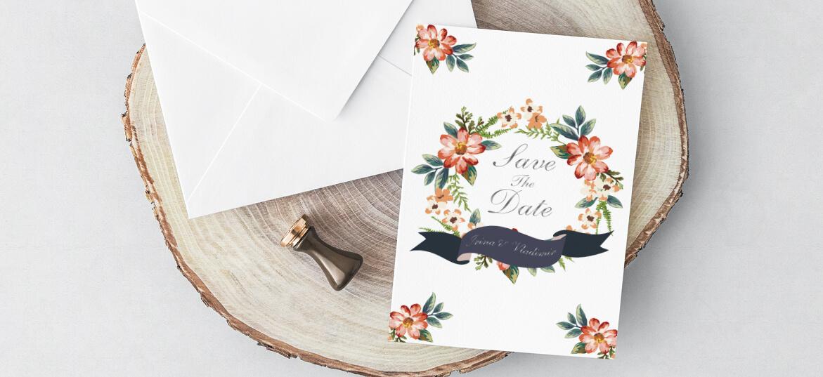 הזמנות חתונה הטבעת זהב פרחים כתומים