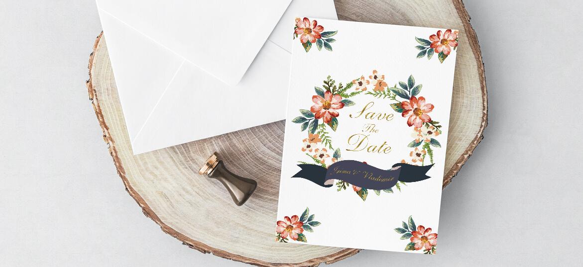 הזמנה באיורי פרחים והטבעת זהב
